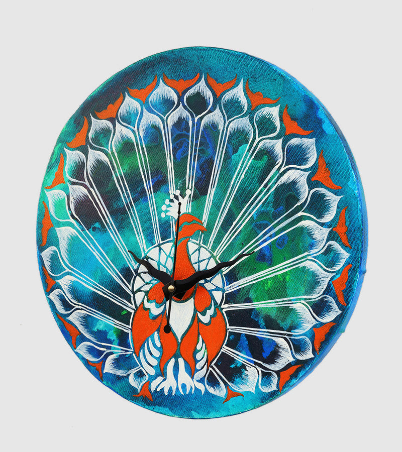 Hand-painted Marbled Peacock Wall Clock - RANGRAGE
