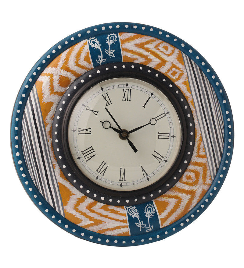Hand-painted Sauve Ikat Wall Clock