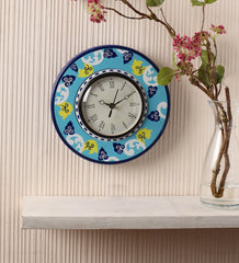 Hand-painted Blue Blessing Wall Clock