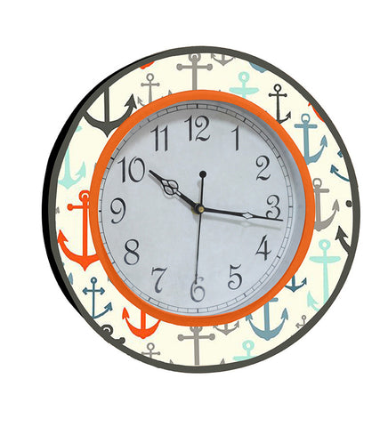Handcrafted Anchor Handpainted Round Clock for Kids