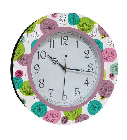 Handcrafted Aqua Floral Clock for Kids