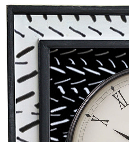 Handcrafted Monochrome Elegance Mangowood Wall Clock
