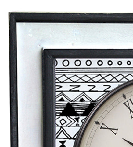 Handcrafted Monochrome Eclectic Mangowood Square Wall Clock