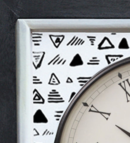 Handcrafted Monochrome Symbols Mangowood Wall Clock
