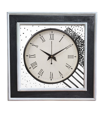 Handcrafted Monochrome Space Mangowood Wall Clock