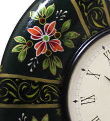 Handcrafted Floral Garden Round Wall Clock