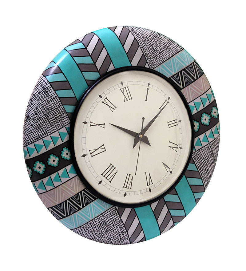 Handcrafted Turqoise Evening Wall Clock