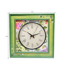 Handcrafted Floral  Elegance Mangowood Wall Clock