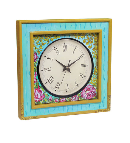 Handcrafted Turqoise Floral Mangowood Wall Clock
