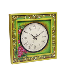 Handcrafted Green Bloom Mangowood Wall Clock