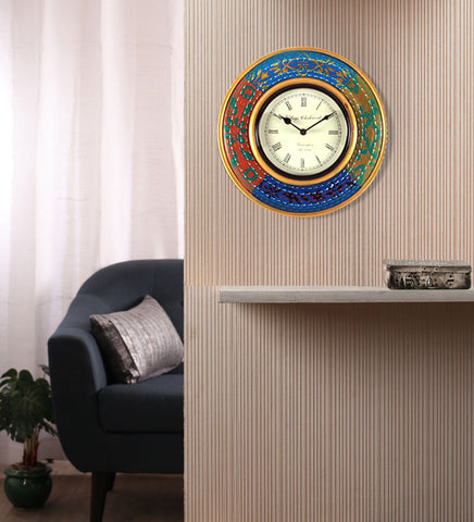 Handcrafted Tribal Colors Round Wall Clock