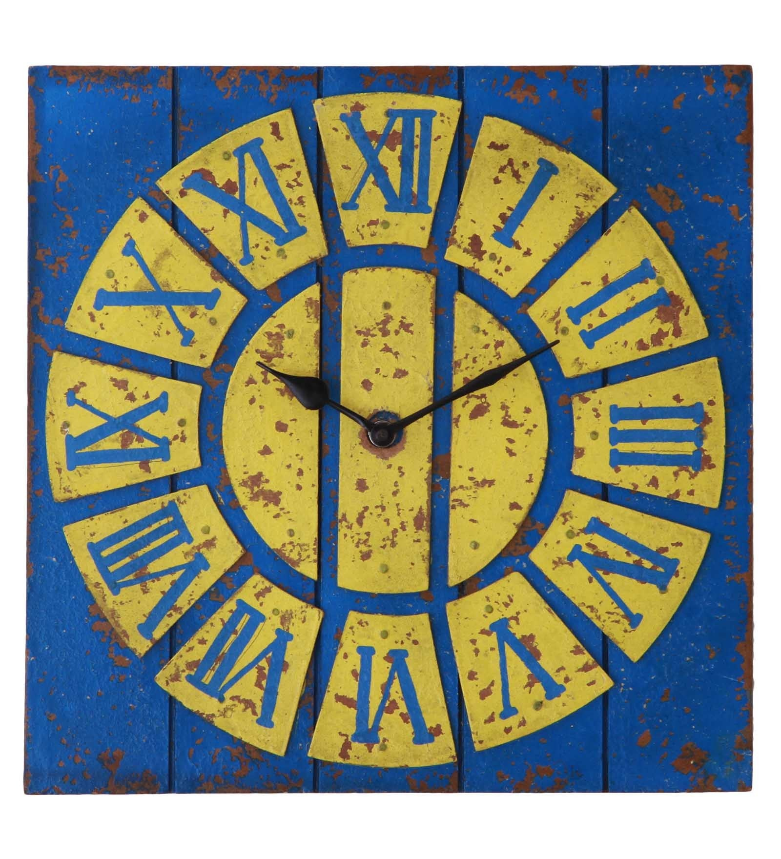 Handcrafted Vintage Yellow Wall Clock | Decorative Wall Clocks ...