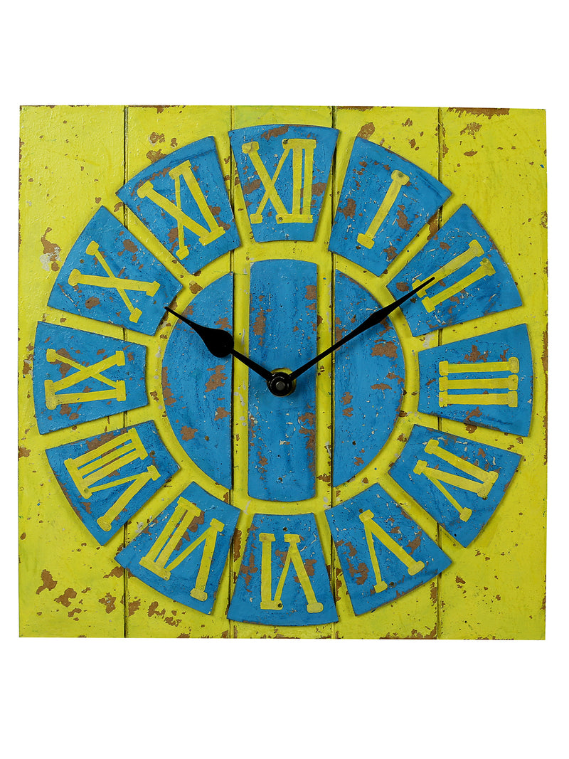 RANGRAGE Handcrafted Vintage Yellow & Blue Wall Clock
