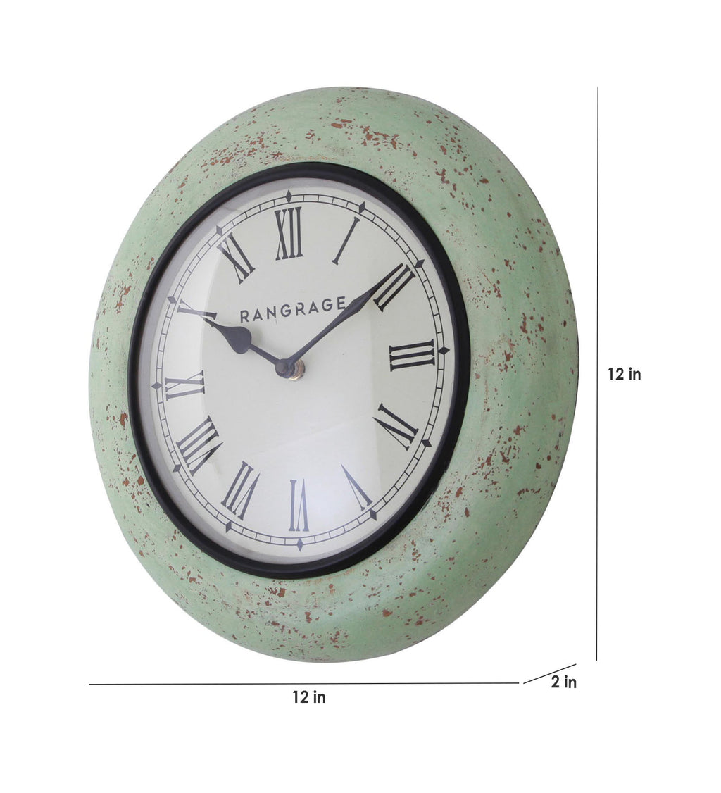 Handcrafted Vintage Green Wall Clock