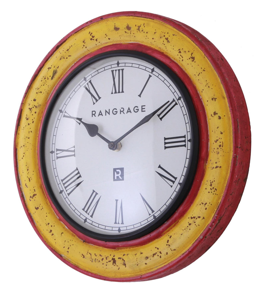 Handcrafted Vintage Yellow Wall Clock