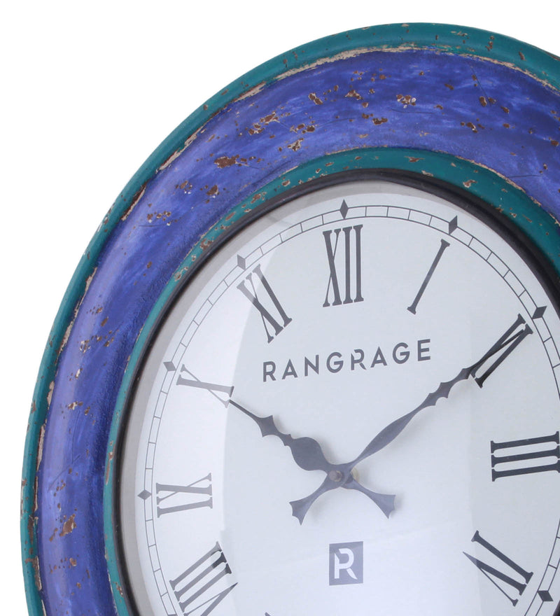 Handcrafted Vintage Blue Wall Clock