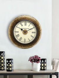 Handcrafted Golden Feista Wall Clock