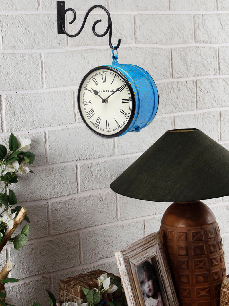 Handcrafted Blue Crackle Double Side Platform Clock