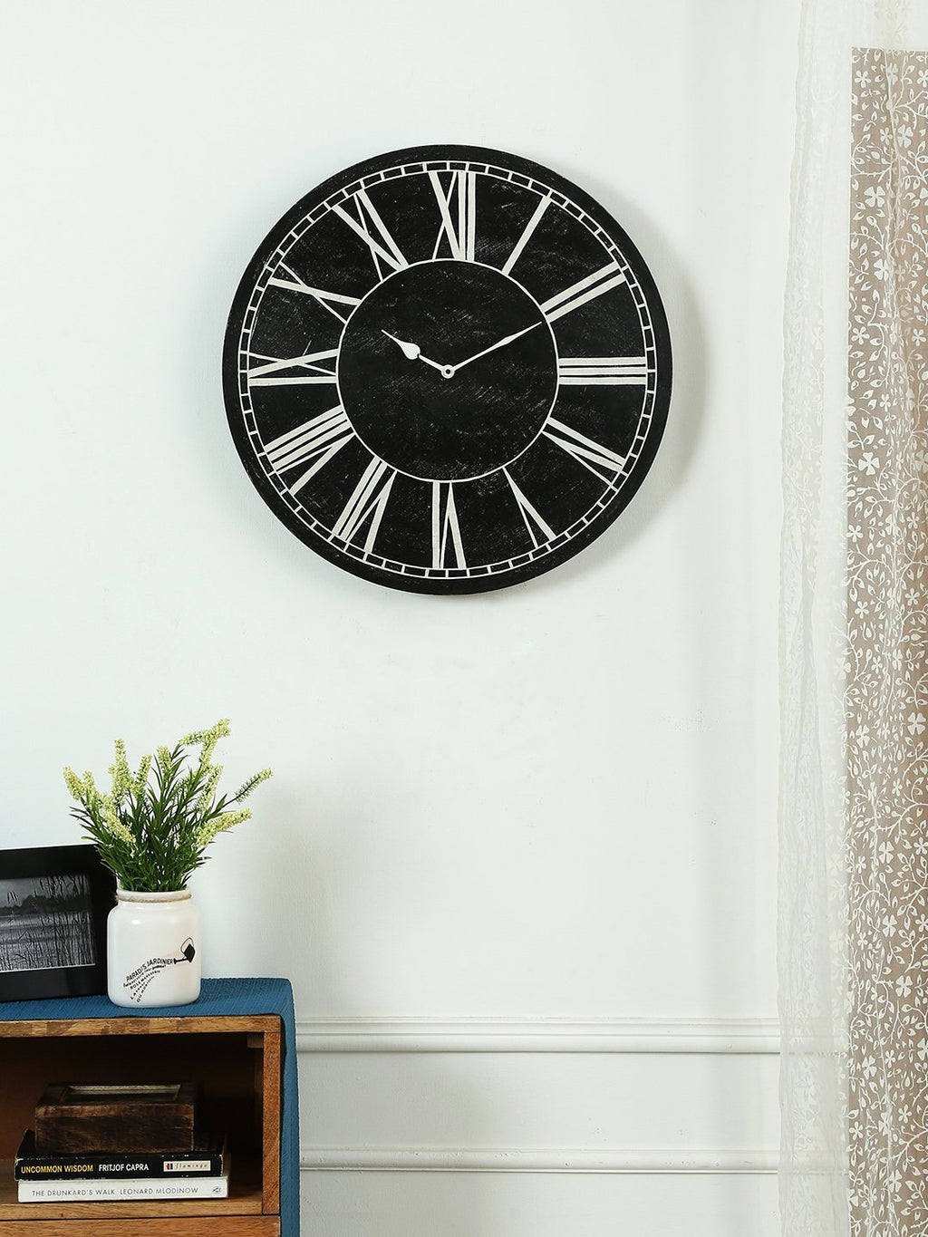 black handcrafted clock online