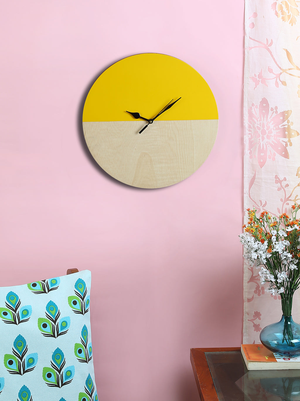 RANGRAGE Handcrafted Circular Yellow Wooden Wall Clock