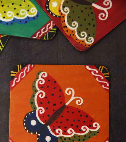 Hand-painted Mandana Butterflies Coasters