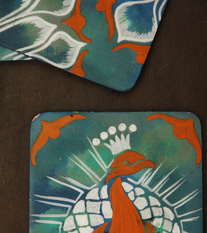 Hand-painted Marbled Peacock Coasters