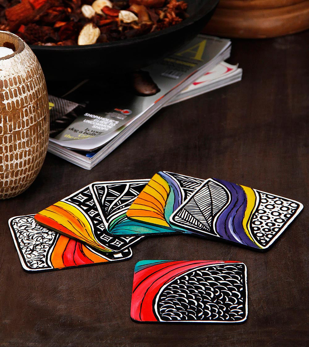 Hand-painted Hena With Waves Coasters - RANGRAGE