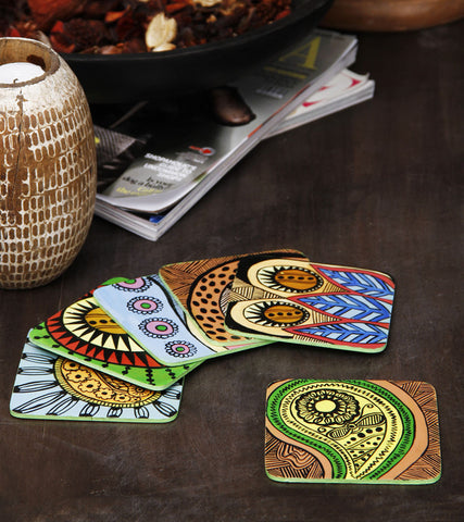 Hand-painted Paisley Coasters