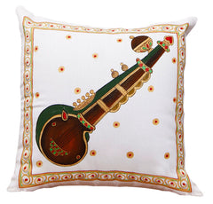 Hand-painted Musical Instruments Cushion Covers (Set of 4) - RANGRAGE