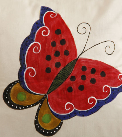 Hand-painted Butterfly Cushion Covers (Set of 4)
