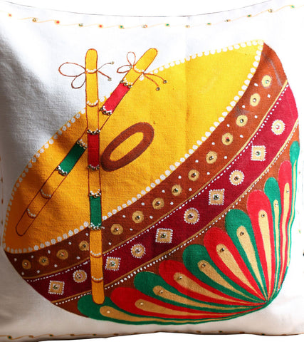 Hand-painted Nagada Damaru Cushion Covers (Set of 2)