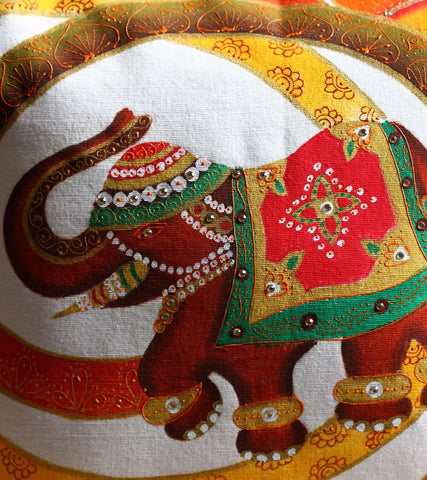 Hand-painted Royal Elephant  Cushion Covers ( Set of 2)