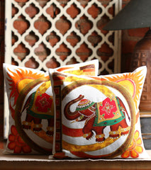 Hand-painted Royal Elephant  Cushion Covers ( Set of 2) - RANGRAGE