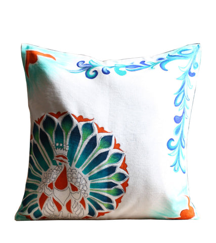 Hand-painted Marble Peacock Cushion Covers (Set of 3)