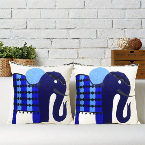 Handcrafted Regal Blue Elephant Cushion Covers (Set of 2)