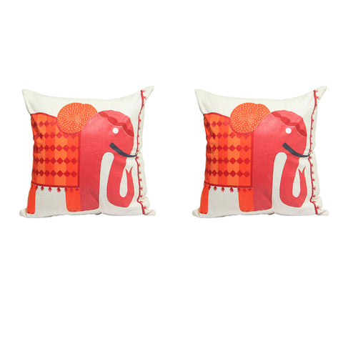 Handcrafted Royal Peach Elephant Cushion Covers (Set of 2)