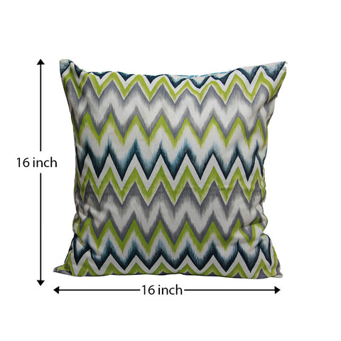 Handcrafted Ikkat Green Cushion Covers (Set of 2)