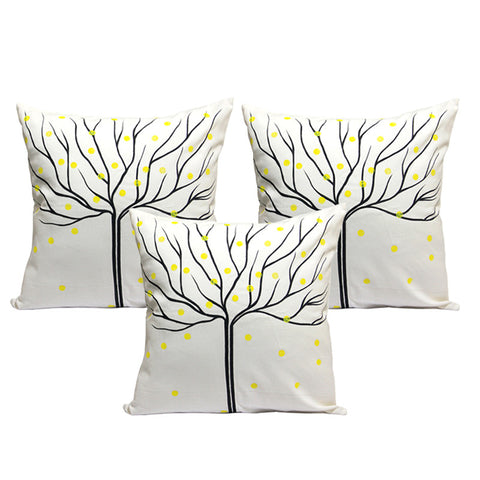 Handcrafted Charcoal Autumn Cushion Covers (Set of 3)