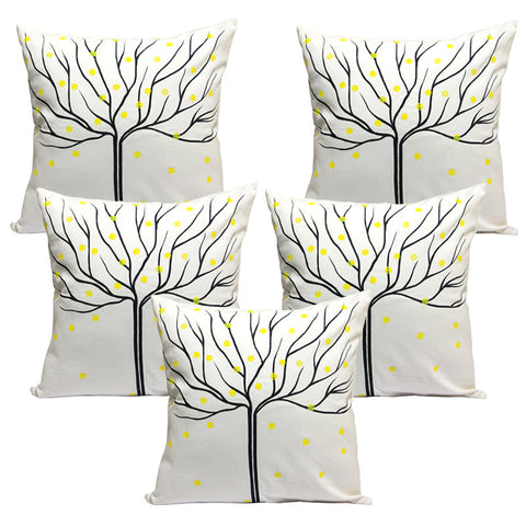 Handcrafted Charcoal Autumn Cushion Covers (Set of 5)