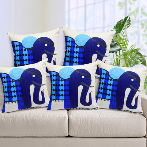 Handcrafted Elegant Blue Elephant Cushion Covers (Set of 5)