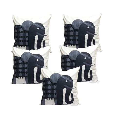 Handcrafted Royal Charcoal Elephant Cushion Covers (Set of 5)