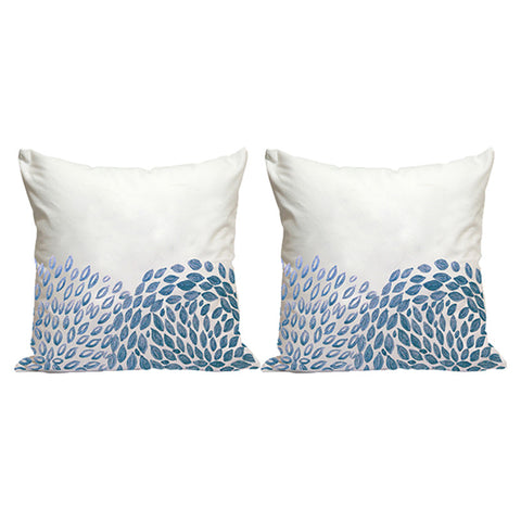 Handcrafted Aqua Circle Cushion Covers (Set of 2)