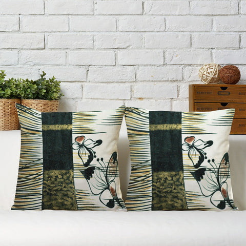 Handcrafted Green Butterfly Cushion Covers (Set of 2)