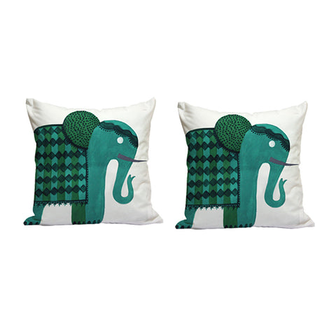 Handcrafted Regal Green Elephant Cushion Covers (Set of 2)