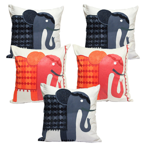 Handcrafted Elephant Festival Cushion Covers (Set of 5)