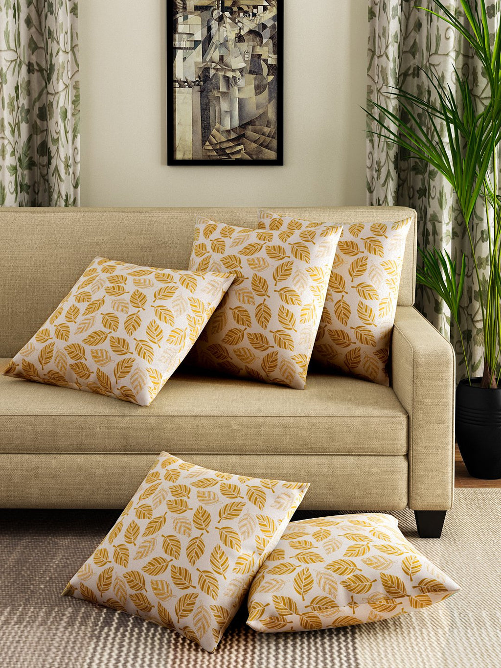 Hand-painted Amber Gift Cushion Covers (Set of 5) - RANGRAGE - 1