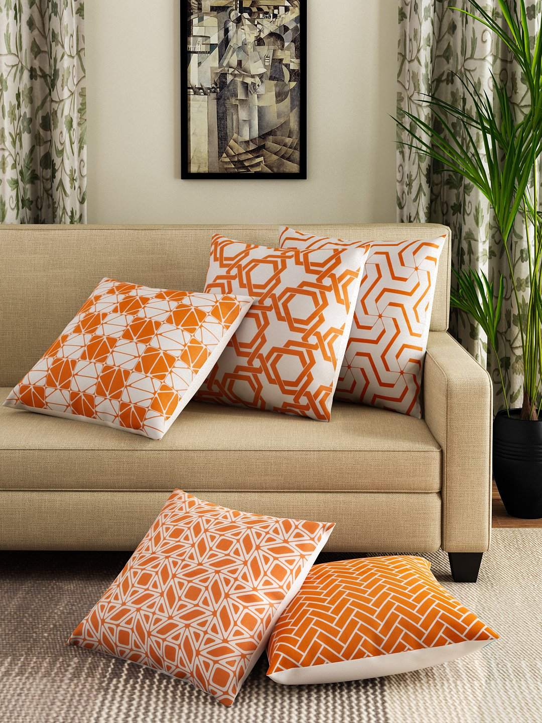 Hand-painted Tangerine Delight Cushion Covers (Set of 5) - RANGRAGE - 1