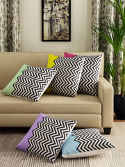 Hand-painted ZigZag Fest Delight Cushion Covers (Set of 5) - RANGRAGE - 1