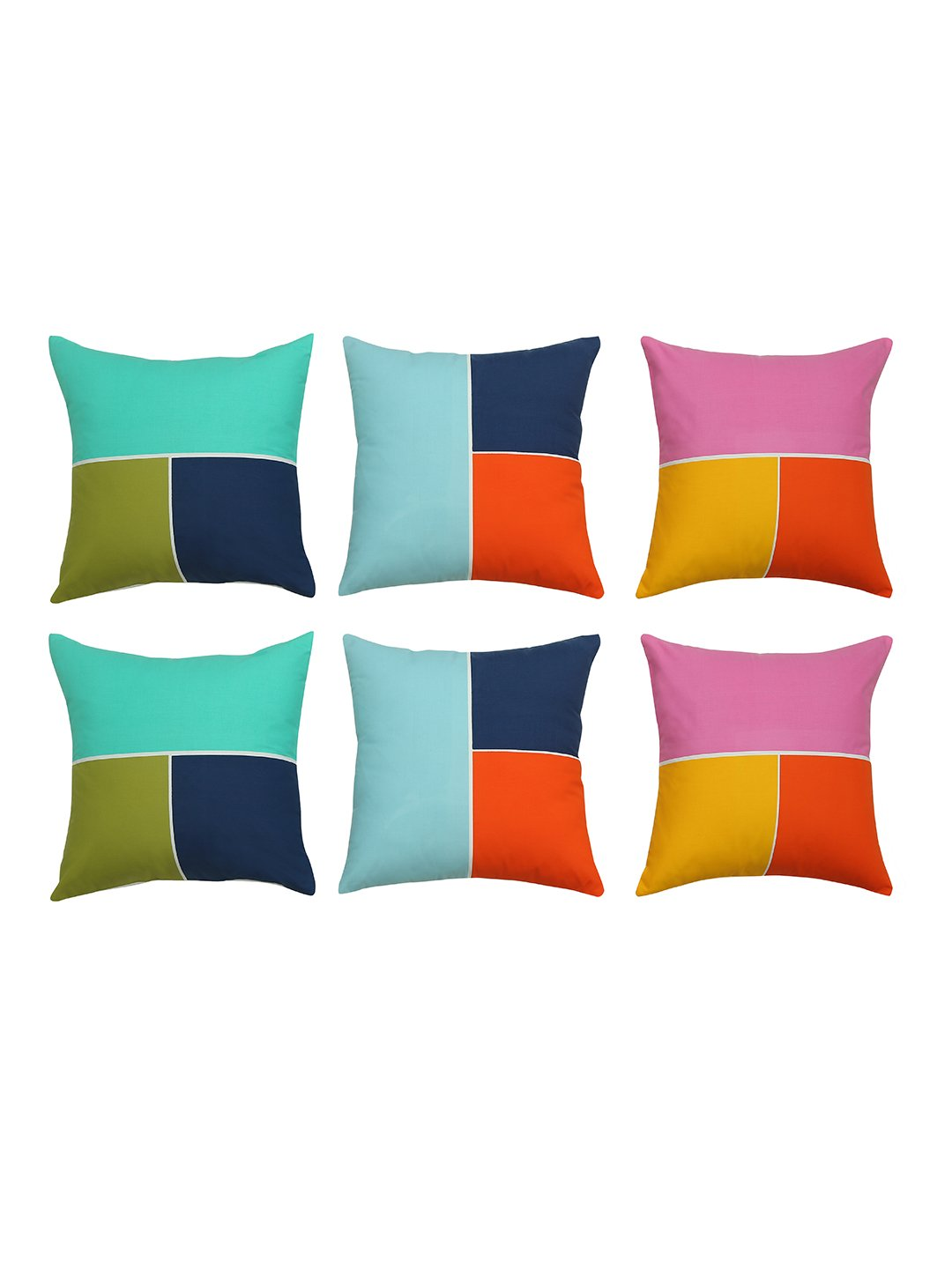 Handcrafted Abstract Geometry Cushion Covers (Set of 6)