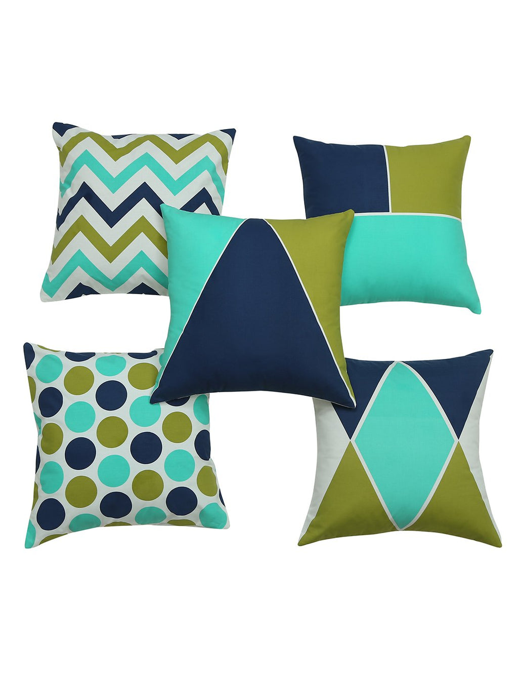 Handcrafted Abstract Geometry Sea Green Cushion Covers (Set of 5)